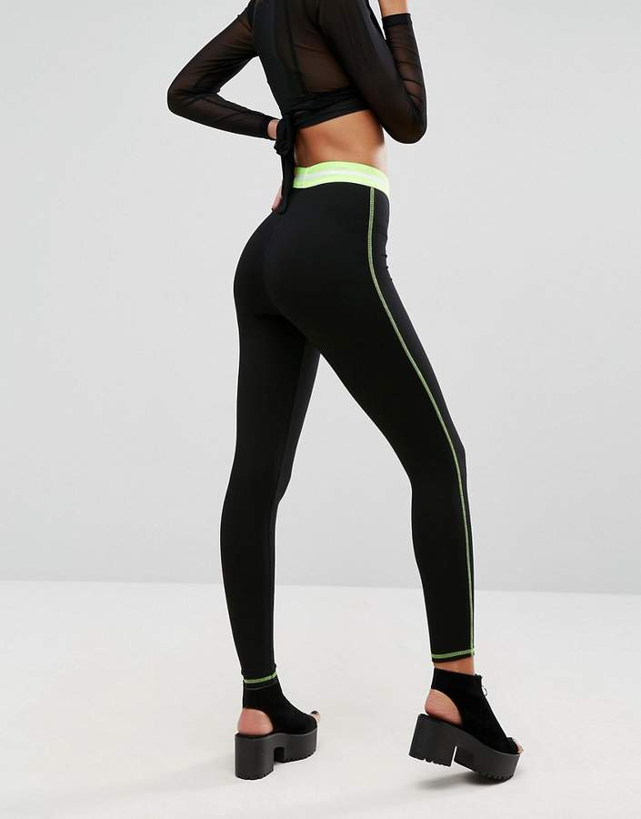 Asos Leggings with Tipped Waistband and Neon Stitch
