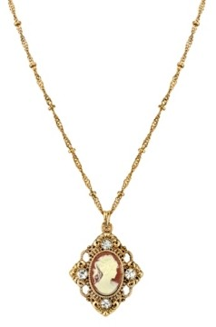 "Downton Abbey Gold-Tone Cameo with Crystal Accent Pendant Necklace 16"" Adjustable"
