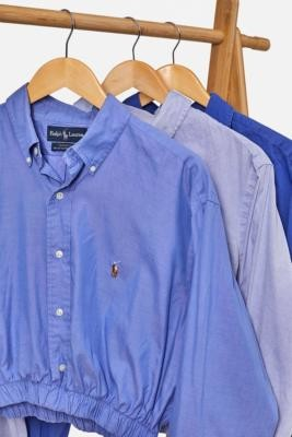 Urban Renewal Vintage Remade From Vintage Blue Branded Bubble Shirt - Blue M/L at Urban Outfitters