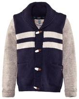 Scotch Shrunk Navy And Grey Stripe College Cardigan
