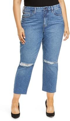Good American Good Curve Raw Hem High Waist Ankle Straight Jeans