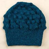 Alpaca Blend Winter Hat Knit by Hand in Peru in Teal Blue, 'Teal Bubbles'