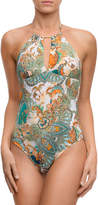 Lise Charmel Cashmere Evasion Printed High-Neck Halter One-Piece Swimsuit