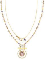 lonna & lilly Gold-Tone Multi-Bead Layer Pendant Necklace