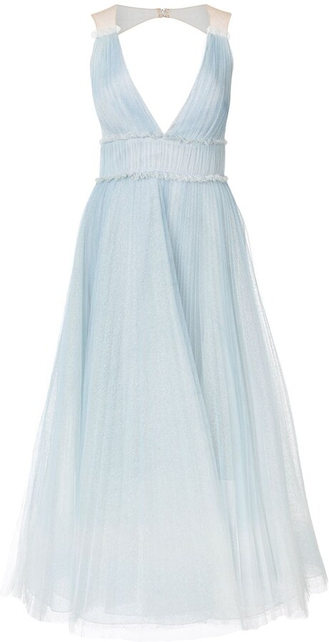 Marchesa Pleated Ombre Gown