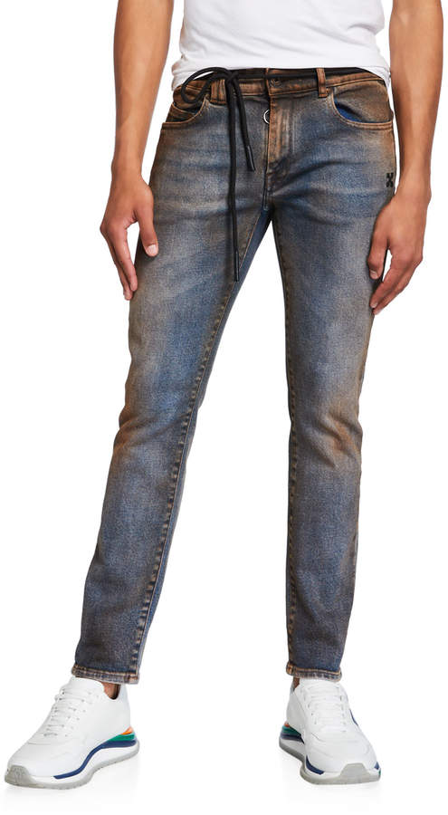 ef1786f9a1 Off White Men's Arrow Short Skinny Dirty Jeans