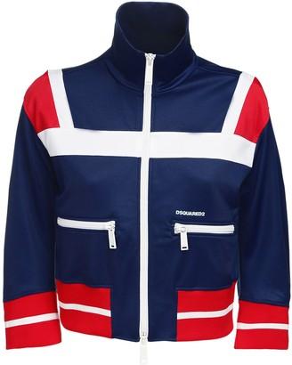 DSQUARED2 Crop Cotton Blend Zip Sweatshirt