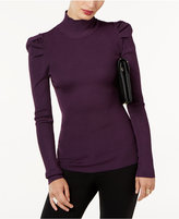 INC International Concepts Ribbed Puffed-Shoulder Top, Created for Macy's
