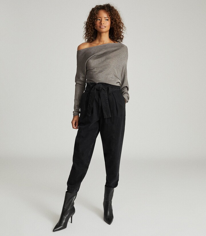 Thumbnail for your product : Reiss Isla - Metallic Asymmetric Top in Mink