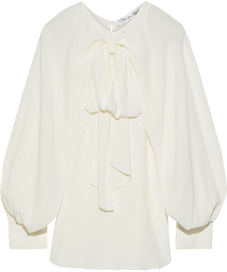 Oscar de la Renta Pussy-bow Layered Stretch-crepe Blouse