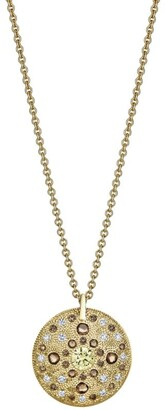 De Beers Yellow Gold Diamond Talisman Medal Necklace