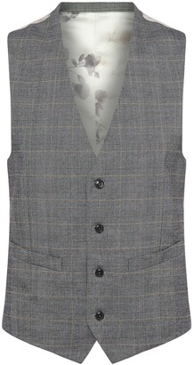 French Connection Grey Check Suit Waistcoat