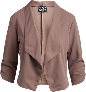 Vky & Co VKY & CO Women's Blazers MOCHA - Mocha Ruched Three-Quarter Sleeve Open-Front Blazer - Women & Plus