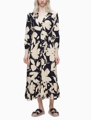 Calvin Klein Floral 3/4 Sleeve Button Ruffle Maxi Dress