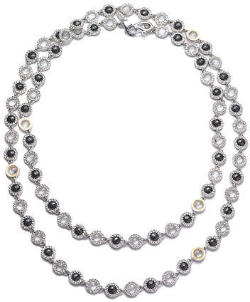 Coomi Opera Sterling Silver Necklace with Black Spinel & Diamonds, 36""