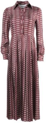 Valentino Burgundy Silk Logo Dress