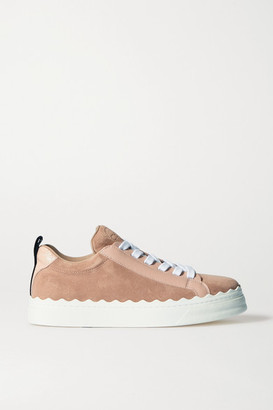 Chloé Lauren Scalloped Suede And Leather Sneakers - Baby pink