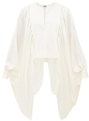 Maison Rabih Kayrouz Draped Cape Sleeve Satin Top - Womens - Ivory