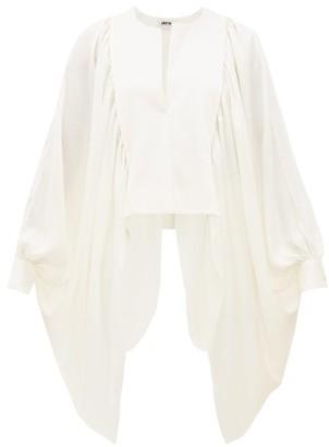 Maison Rabih Kayrouz Draped Cape-sleeve Satin Top - Womens - Ivory