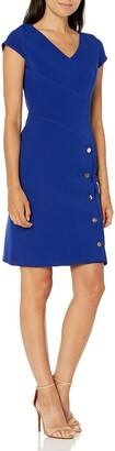 Julia Jordan Women's Cap Sleeve V Neck Side Button Stretch Crepe Sheath Dress