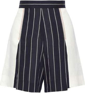 Tome Canvas-paneled Striped Crepe Shorts