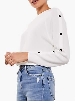 Mint Velvet Contrast Button Knit Jumper, Ivory