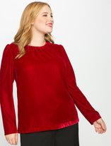 ELOQUII Plus Size Puff Sleeve Velvet Blouse