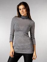 Ellassentials 3/4 Sleeve Stripe Turtleneck
