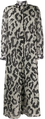 Christian Pellizzari Leopard Print Shirt Dress