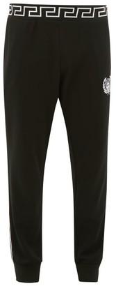 Versace Logo-embroidered Fleeceback Jersey Track Pants - Mens - Black