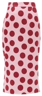 Dolce & Gabbana Polka-dot Silk-blend Satin Pencil Skirt - Pink Multi