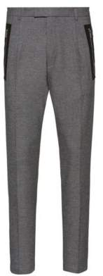 HUGO Slim-fit trousers with tape-trimmed zipped pockets