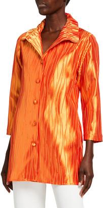 Caroline Rose Petite Celebration Ruched-Collar Jacquard Shirt