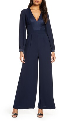 Eliza J Long Sleeve Wide Leg Jumpsuit