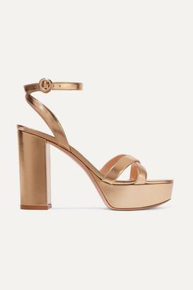 Gianvito Rossi Poppy 120 Metallic Leather Platform Sandals - Gold