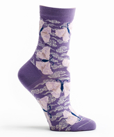 Ozone Violet Origami Butterfly Crew Socks