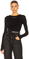 Enza Costa Cuffed Crew Cashmere-Blend Sweater in Black | FWRD