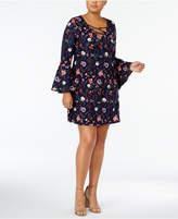 Planet Gold Trendy Plus Size Floral-Print A-Line Dress