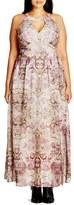 City Chic 'Romantic' Print Keyhole Maxi Dress (Plus Size)