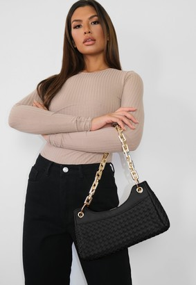 Missguided Black Woven Chain Strap Shoulder Bag