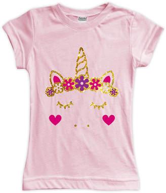 Urban Smalls Girls' Tee Shirts Lt - Light Pink & Gold Unicorn Face Heart Cheeks Fitted Tee - Toddler & Girls