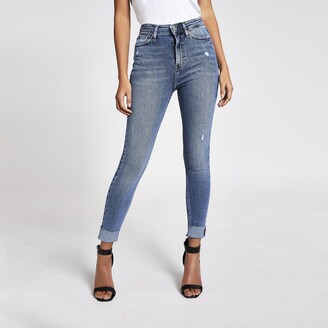 River Island Womens Blue Hailey high rise turn-up jeans