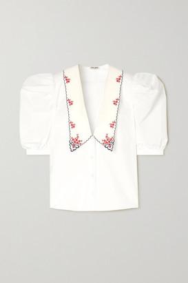 Miu Miu Embroidered Cotton-poplin Blouse - White