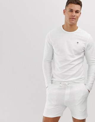 Jack and Jones ribbed towelling crew neck sweat in white