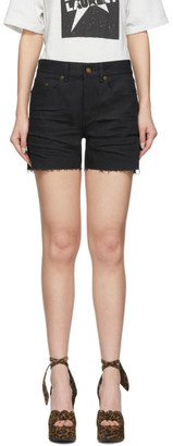 Saint Laurent Black Denim Frayed Shorts