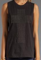 Motel Hollie Shirt in Black/Criss Cross Bead