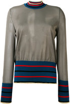 Marni tulle striped top - women - Polyester/Viscose/Wool - 38