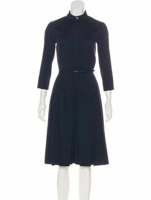Oscar de la Renta Long Sleeve Pleated Shirtdress Navy