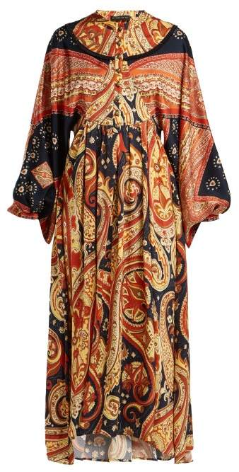 Etro Lupe Paisley Print Satin Long Dress - Womens - Orange Print