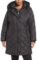 Larry Levine Plus Size Women's Faux Fur Trim Long Quilted Coat With Inset Bib